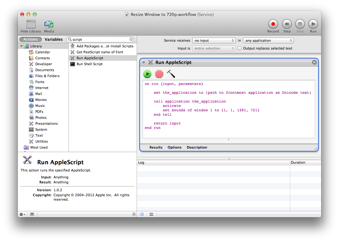 Using automator and applescript to easily resize windows for Window resize