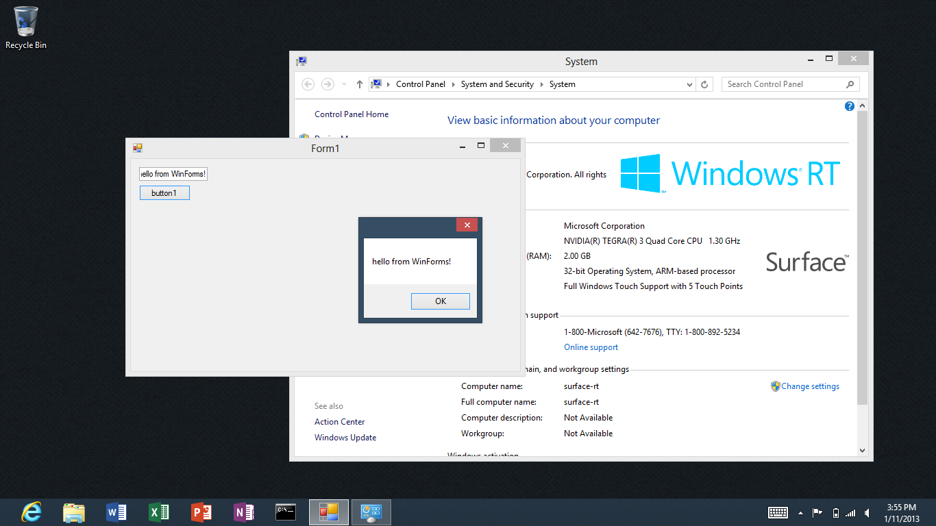 Creating and Running WinForms Desktop Apps on Windows RT