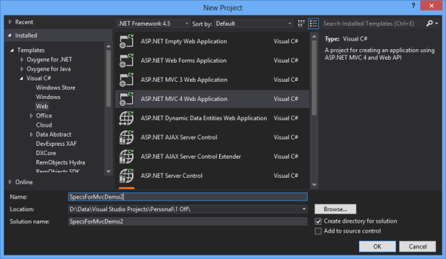 New ASP.NET MVC 4 Web Application