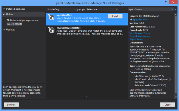 SpecsFor.Mvc Nuget Package